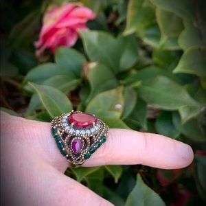RUBY EMERALD RING Size 7.5 Solid 925 Silver/Gold